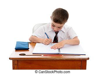 menino, fazendo, trabalho escola, ou, dever casa