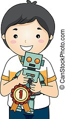 menino, feira, ciência, robô, lugar, 1º, criança