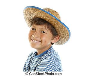 menino, feliz, chapéu, jovem, boiadeiro