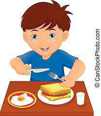 menino, feliz, comer, tabela