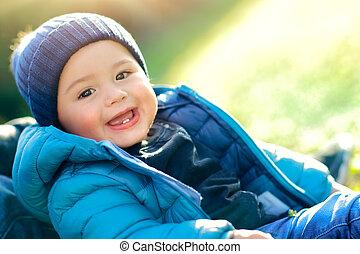menino, feliz, dia, cute