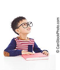 menino, feliz, livro, jovem, retrato