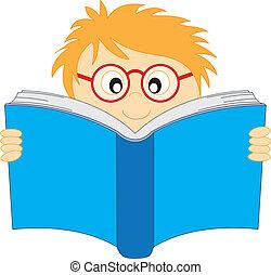 menino, feliz, livro, leitura