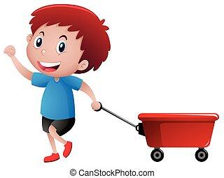 menino, feliz, puxando, vagão vermelho