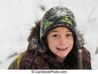 menino, feliz, saída, jovem, neve