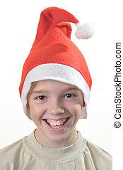 menino, feliz, santa, hat.
