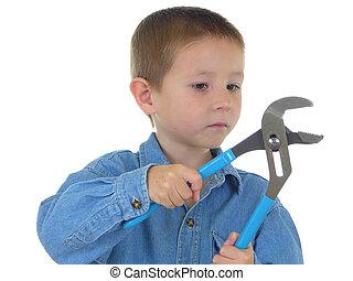 menino, ferramenta