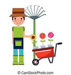 menino, flores, ancinho, jardineiro, carrinho de mão
