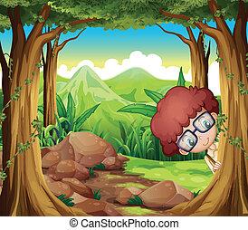 menino, floresta, escondendo