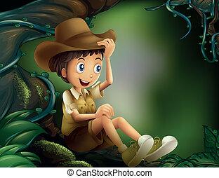 menino, floresta tropical, árvore, sentando