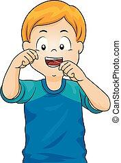 menino, floss, criança, ilustração, dentes