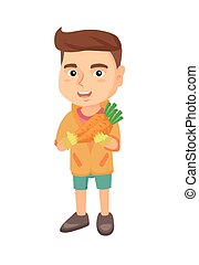 menino, fresco, caucasiano, carrot., segurando