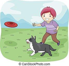 menino, frisbee