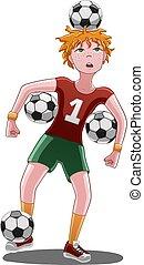 menino, futebol, bolas