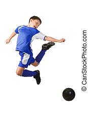 menino, futebol, jovem, jogador