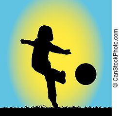 menino, futebol, tocando