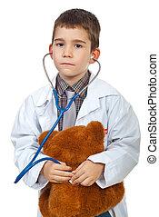 menino, futuro, exame, doutor