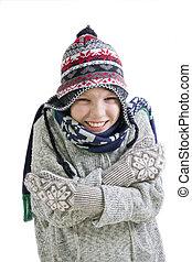 menino, gelado, congelação, inverno