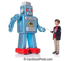 menino, gigante, controlando, robô