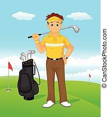 menino, golfe, caricatura, jogador