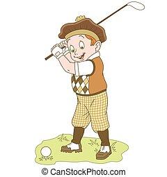 menino, golfe, caricatura, tocando
