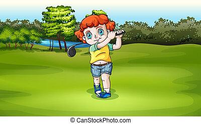 menino, golfe jogando, jovem, campo