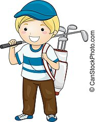 menino, golfe