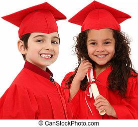 menino, graduação, jardim infância, interacial, menina,...
