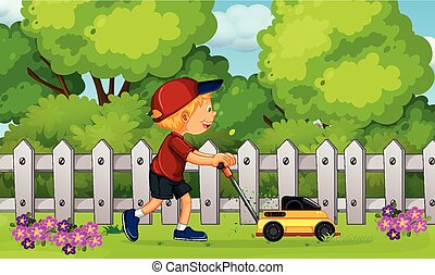 menino, gramado, grama cortante, mower
