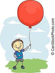 menino, grande, balloon, vara, segurando, vermelho, criança