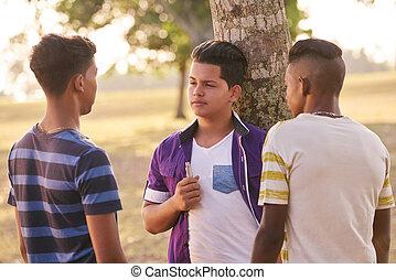 menino, grupo, parque, cigarro fuma, adolescentes, eletrônico