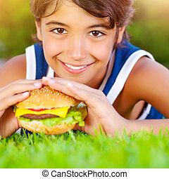 menino, hamburger, cute, comer