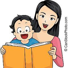 menino, história, família, ler, livro, mãe, bebê