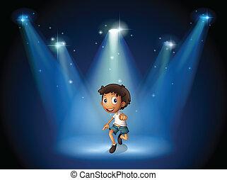 menino, holofotes, dançar