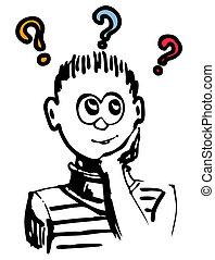 menino, idéia, pensando, ou, ter, dilema