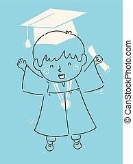 menino, ilustração, graduado, criança