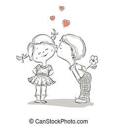 menino, ilustração, mão, beijando, desenhado, menina