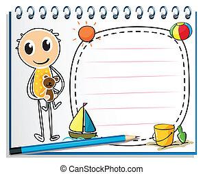 menino, imagem, brinquedo, segurando, caderno