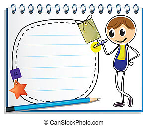 menino, imagem, caderno, escrita