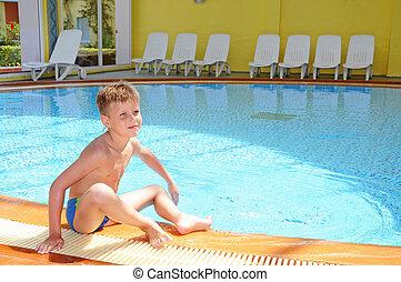 menino, indoor, jovem, piscina, natação