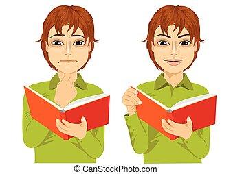 menino, interessante, jovem, livro, focalizado, leitura