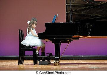 menino, irmã, (9, antigas, japoneses, irmão, 4, girl), piano, anos, tocando, fase