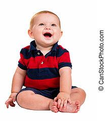 menino, isolado, bebê, retrato, sorrindo, branca, feliz