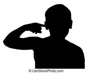 menino, isolado, dedo, criança, orelha, gesto