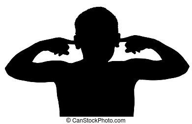 menino, isolado, escutar, criança, não, gesto
