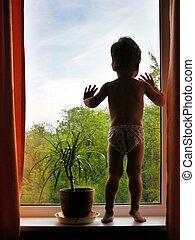 menino, janela