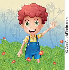 menino, jardim, jovem