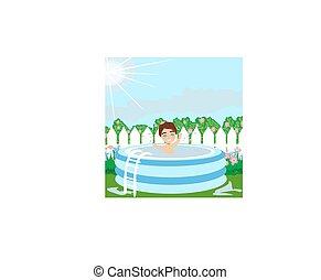menino, jardim, piscina