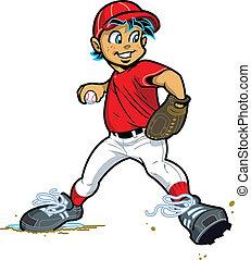 menino, jarro, basebol