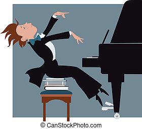 menino, jogar piano